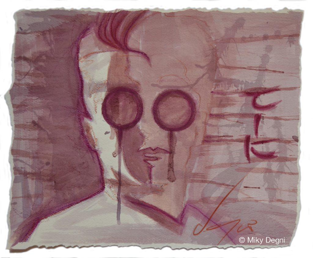 autoritratto dell'artista Miky Degni realizzato con il vino Nero d'Avola