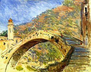 monet ed il ponte di Dolceacqua vicino a Bordighera