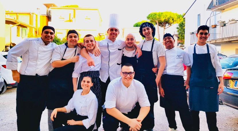 chef Lorenzo alessio e brigata hotel roma di cervia